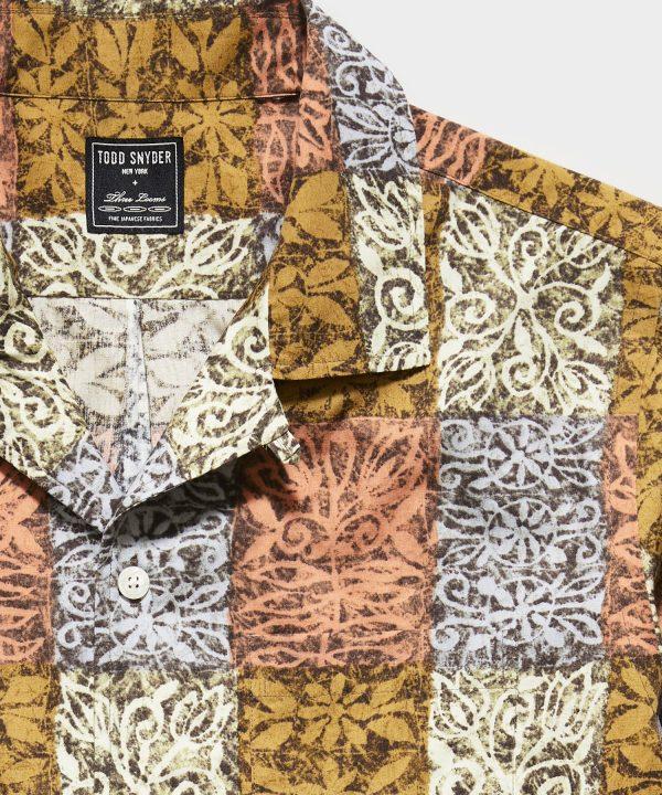 Japanese Rayon Camp Collar Short Sleeve Shirt in Block Print