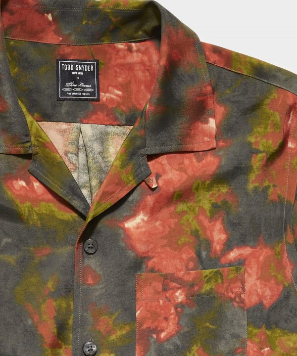 Japanese Rayon Camp Collar Short Sleeve Shirt in Watercolor Floral