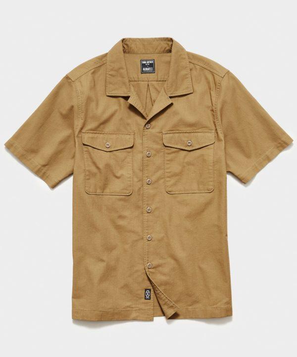 Japanese Short Sleeve Panama Shirt in Military Khaki