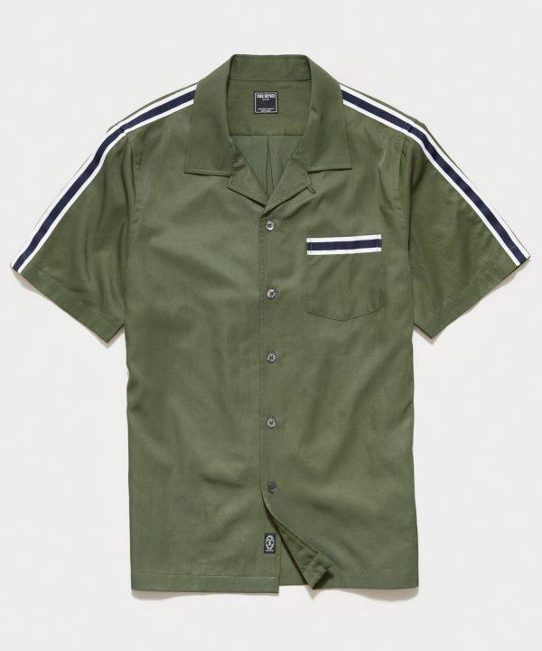 Japanese Shoulder Stripe Rayon Shirt in Sage