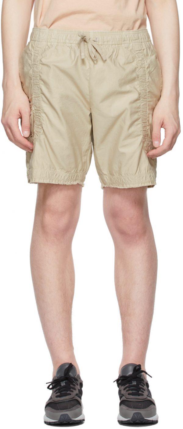 John Elliott Beige Cotton Poplin Frame Shorts