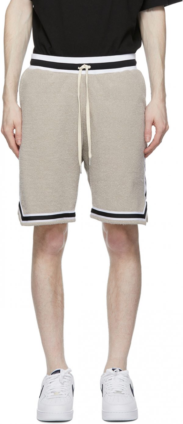 John Elliott Beige Fur Terry Game Shorts