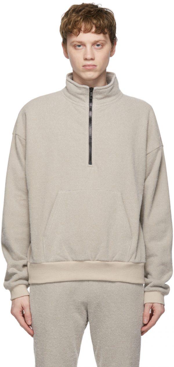 John Elliott Beige Fur Terry Half-Zip Sweater
