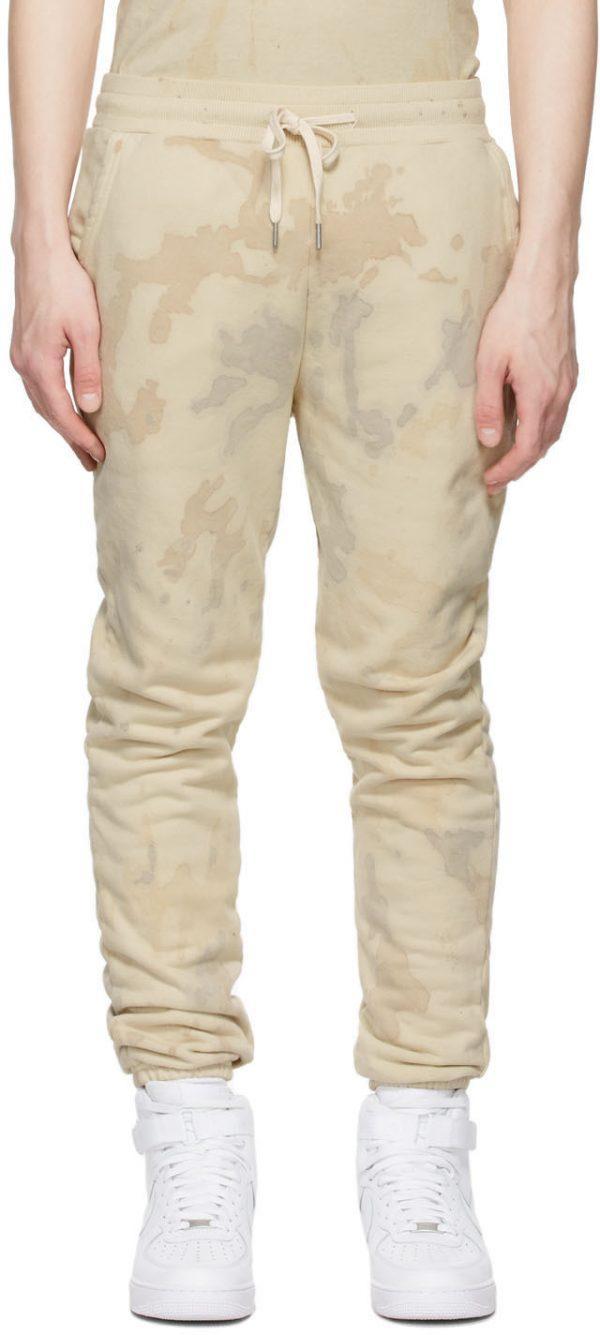 John Elliott Beige Tie-Dye Lounge Pants