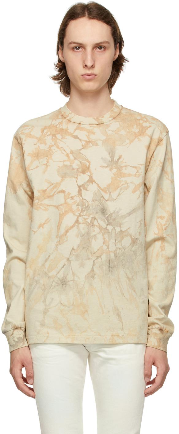 John Elliott Beige Tie-Dye University Long Sleeve T-Shirt