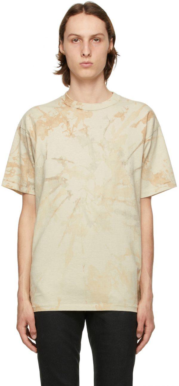 John Elliott Beige Tie-Dye University T-Shirt