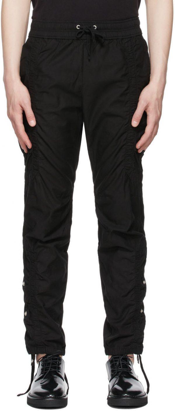 John Elliott Black Cotton Poplin Frame Cargo Pants