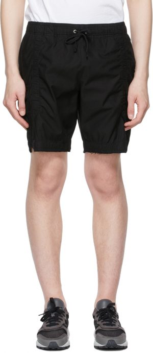 John Elliott Black Cotton Poplin Frame Shorts