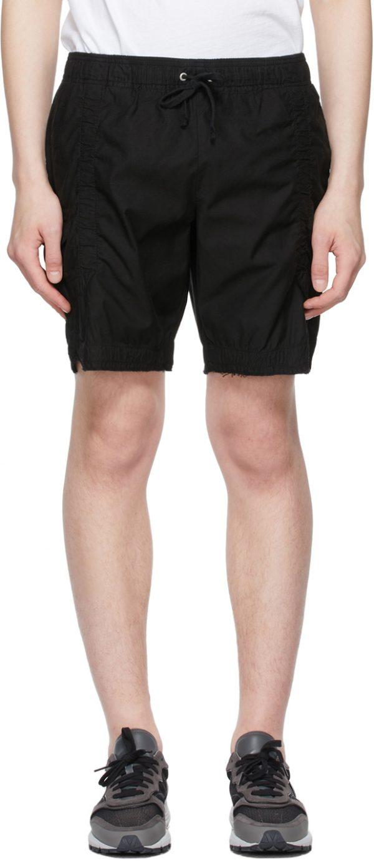 John Elliott Black Cotton Poplin Frame Shorts
