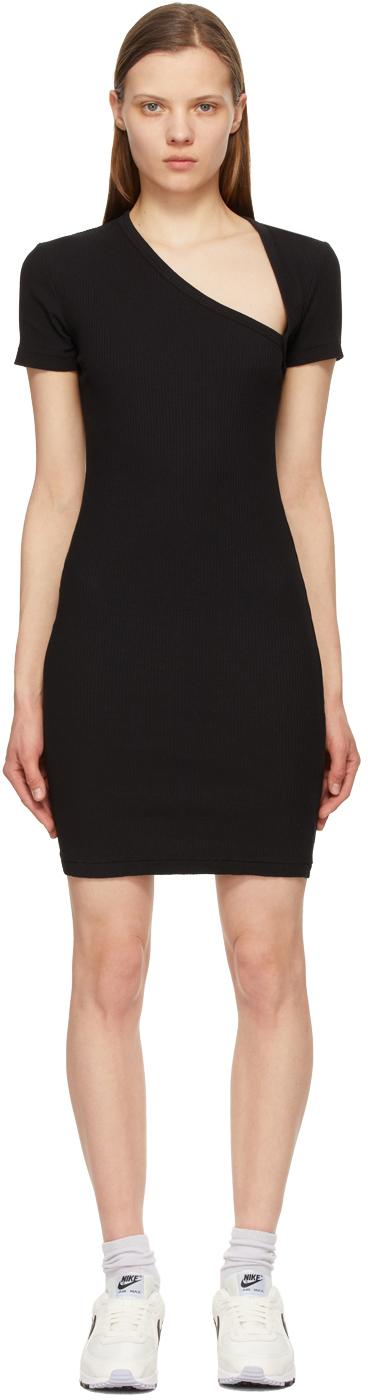 John Elliott Black Cotton Rib Asymmetrical Dress