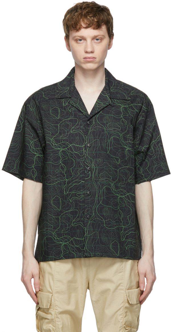 John Elliott Black & Green Radar Camp Short Sleeve Shirt