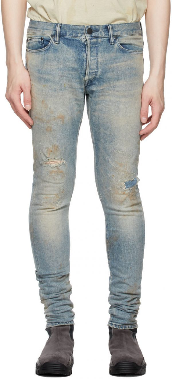 John Elliott Blue Stained 'The Cast 2' Jeans