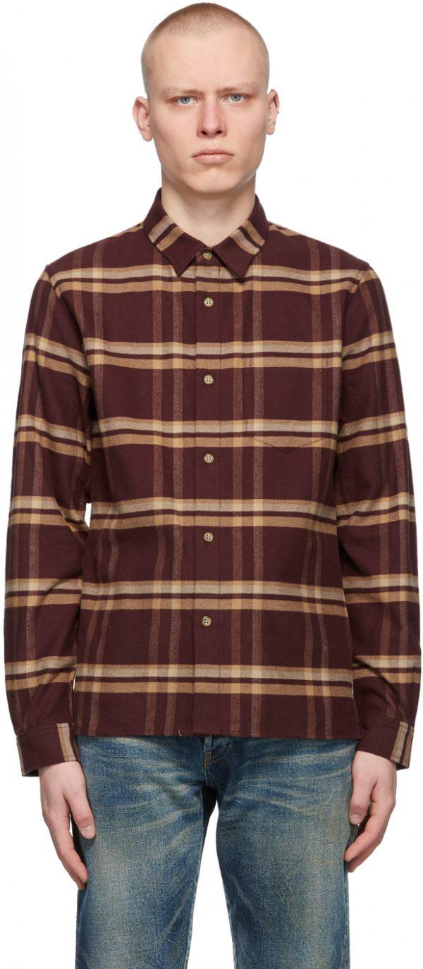 John Elliott Burgundy Check Sly Shirt