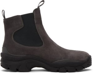 John Elliott Grey Suede Caldera Chelsea Boots