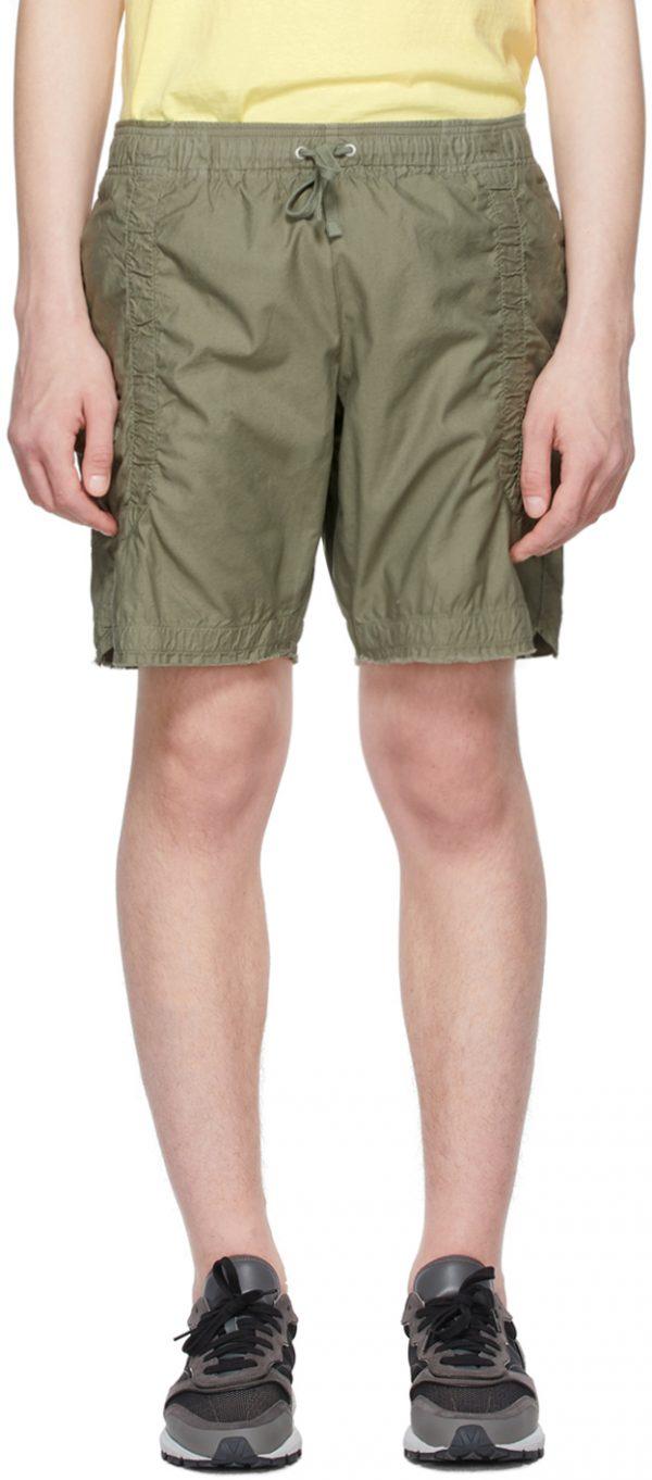 John Elliott Khaki Cotton Poplin Frame Shorts