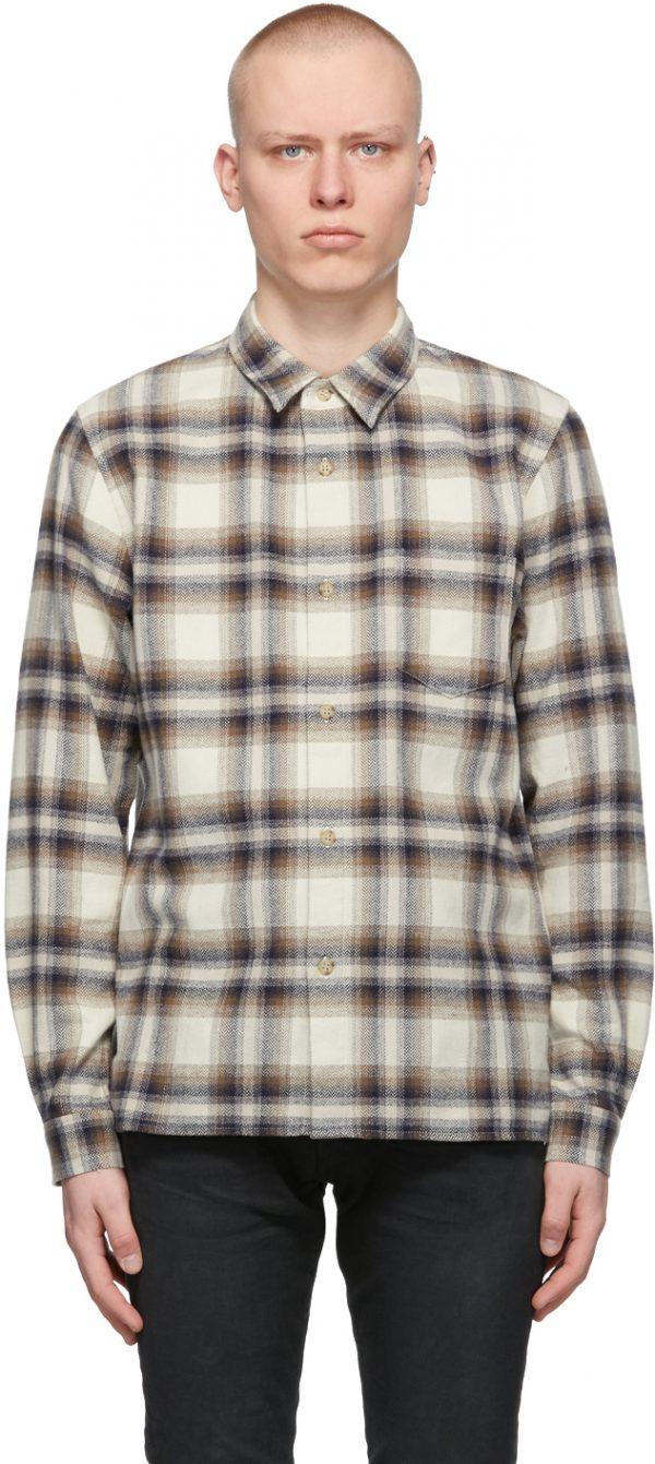 John Elliott Off-White & Navy Check Sly Shirt