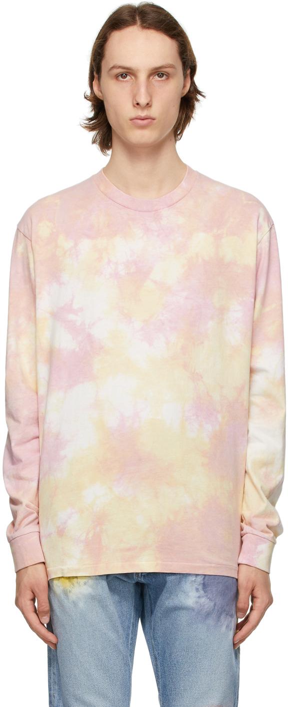 John Elliott Pink Tie-Dye University Long Sleeve T-Shirt
