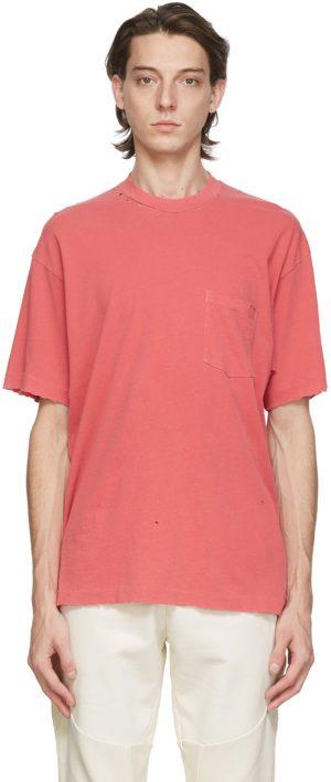 John Elliott Red Faded Pocket T-Shirt