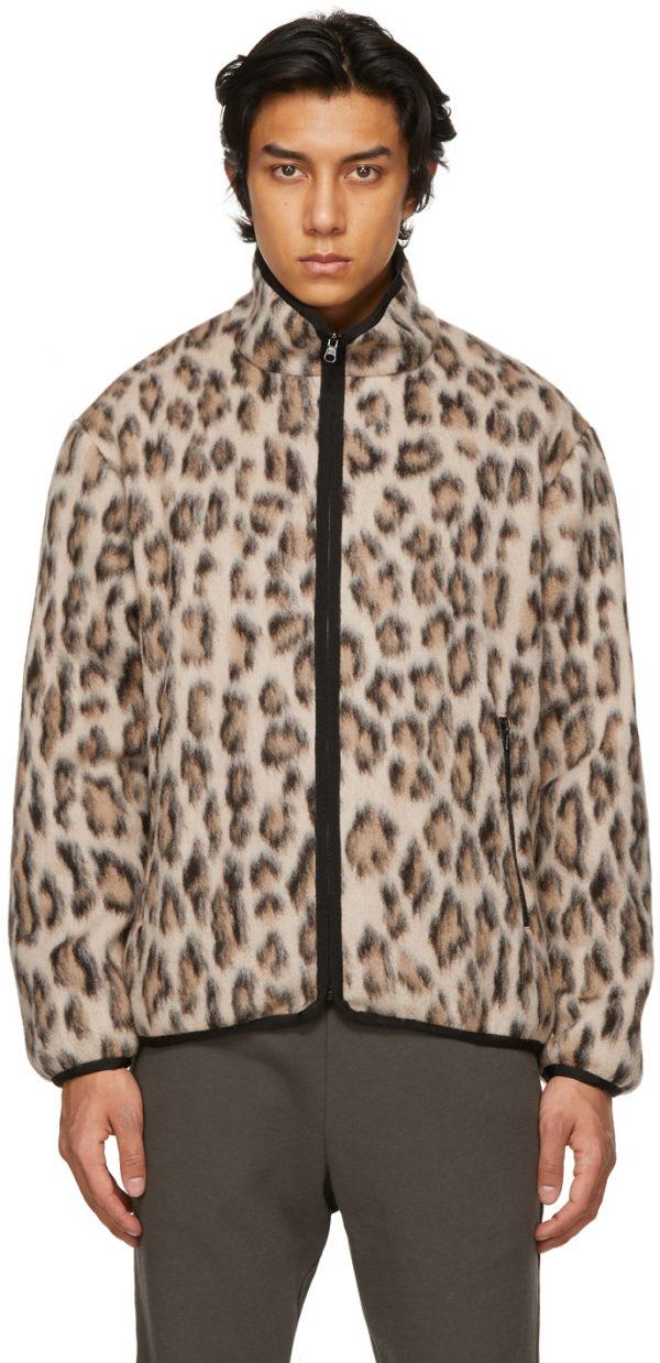 John Elliott Reversible Beige & Black Polar Fleece Full-Zip Jacket