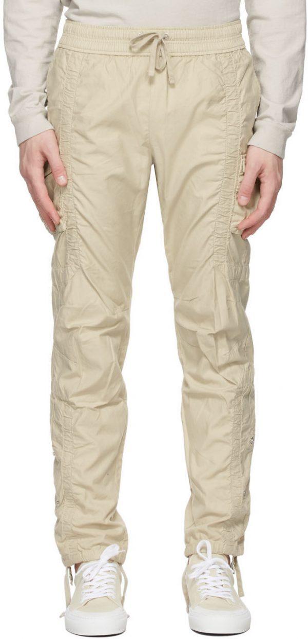 John Elliott Tan Cotton Poplin Frame Cargo Pants