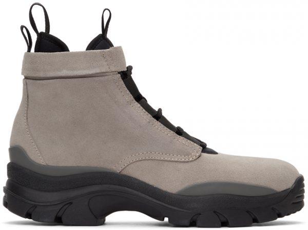 John Elliott Taupe Speed Lace-Up Boots