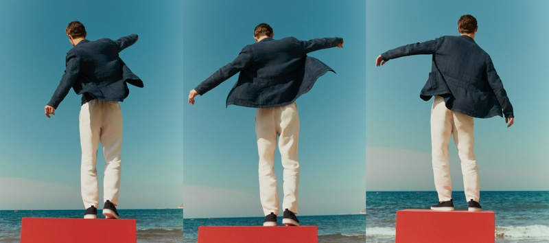Kit Butler Takes to the Beach in Massimo Dutti