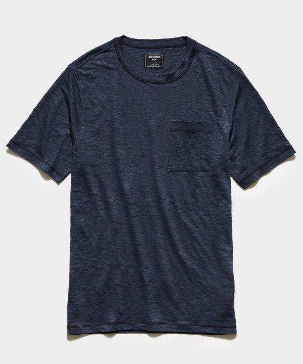 Linen Jersey T-Shirt in Black