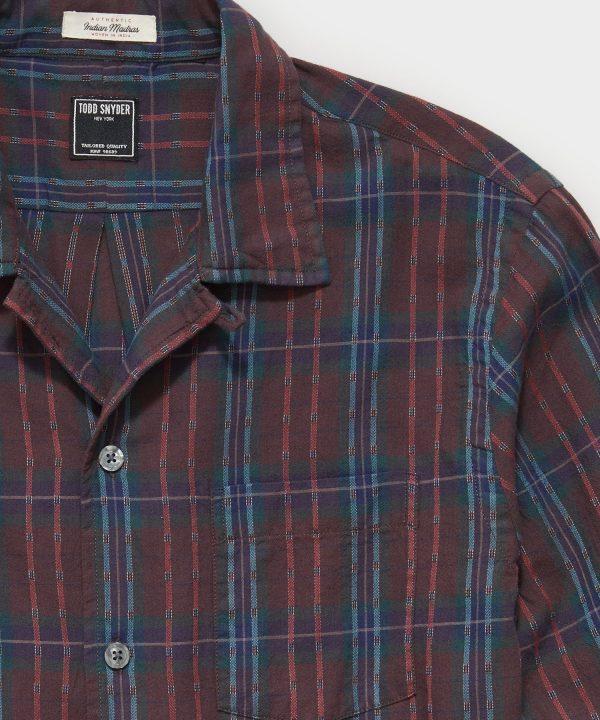 Madras Camp Collar Long Sleeve Shirt in Burgundy Dobby Plaid