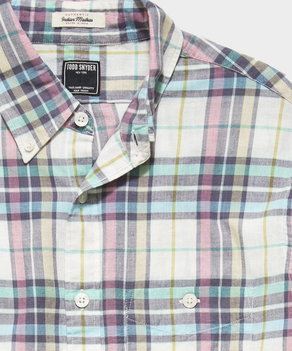 Madras Check Button Down Long Sleeve Shirt in Yellow Red