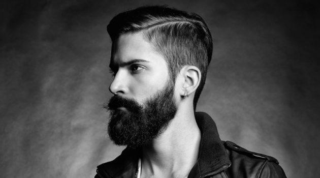 Male Model Beard Side Profile Sleek Hairstyle Black White Photo
