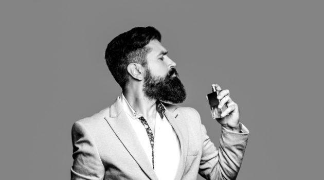 Male Model Black White Fragrance Beard Smelling