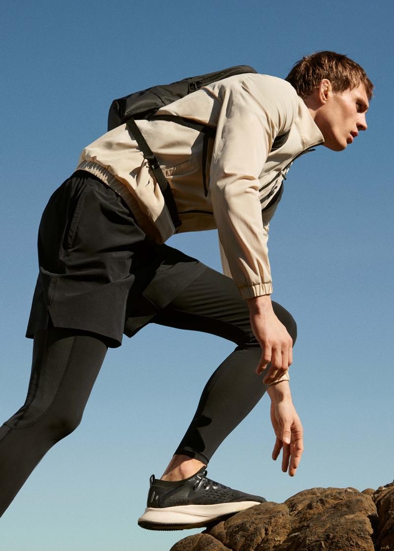 Mountain climbing, Julian Schneyder sports Mango Man's Active collection.