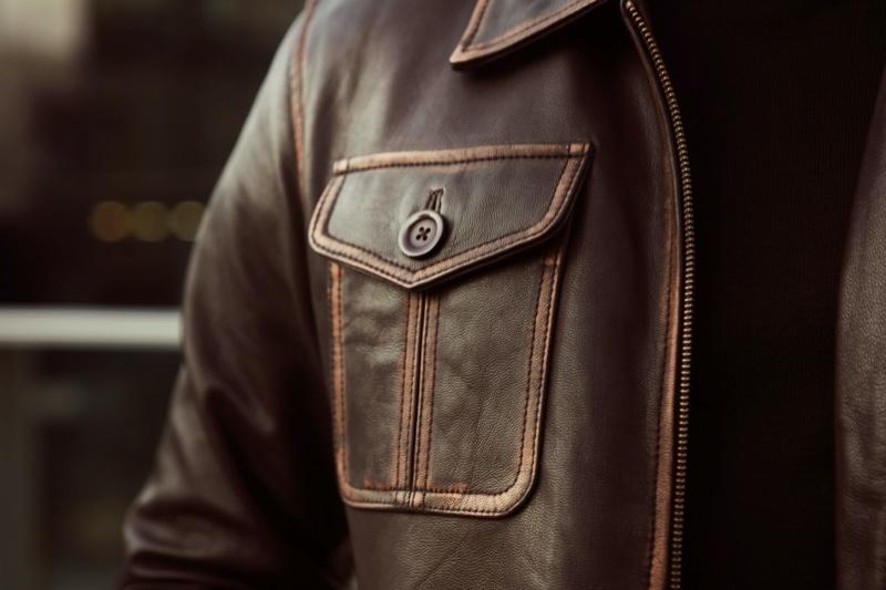 Men's Leather Jacket Detail