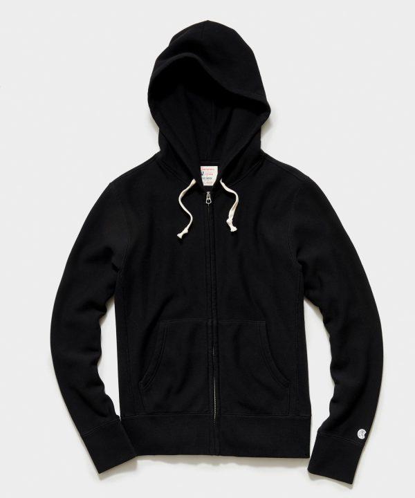 Midweight Full Zip Hoodie in Black