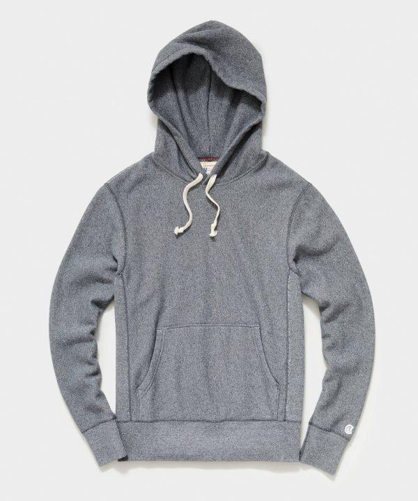 Midweight Popover Hoodie Sweatshirt in Salt and Pepper