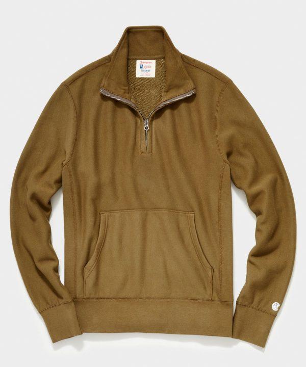 Midweight Quarter Zip Sweatshirt in Mossy Brown