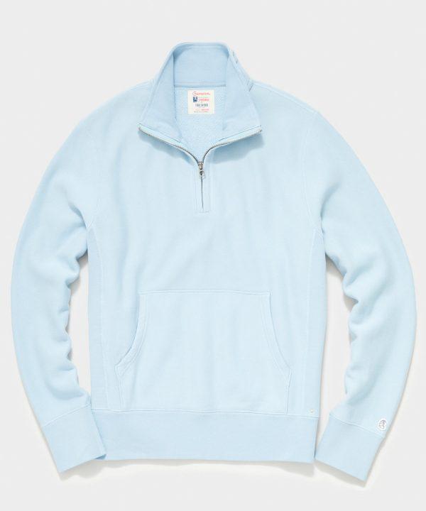 Midweight Quarter Zip Sweatshirt in Powder Blue
