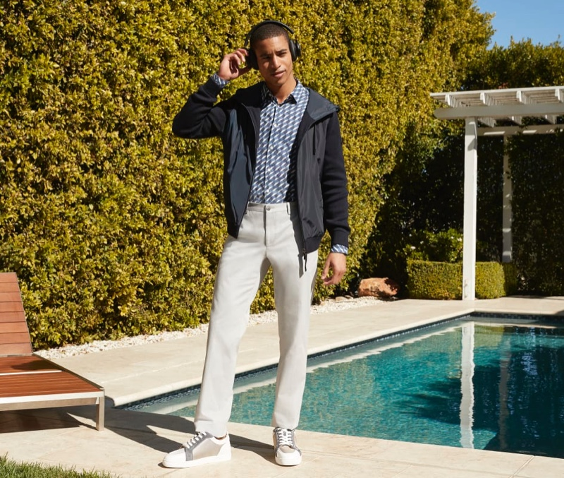 Front and center, Malik Lindo sports a look from German brand BOSS.