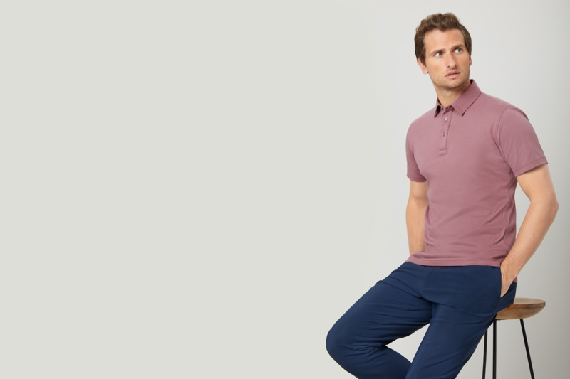 British model Tom Warren sports one of Niccolò P. London's must-have polo shirts.