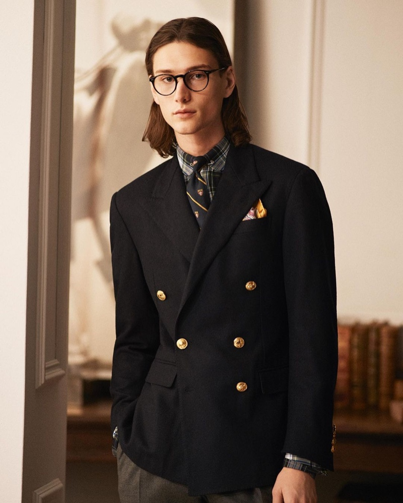 A smart vision, Wellington Grant models a double-breasted jacket by POLO Ralph Lauren.