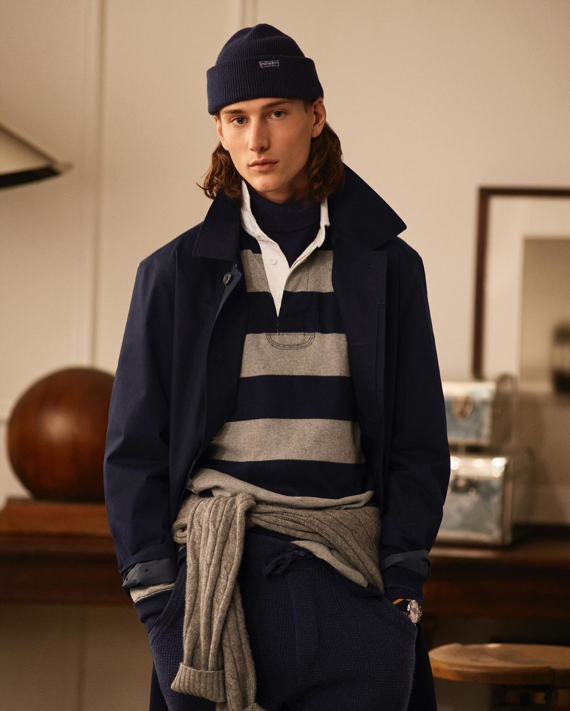 Donning navy and gray, Wellington Grant sports a sleek look by POLO Ralph Lauren.