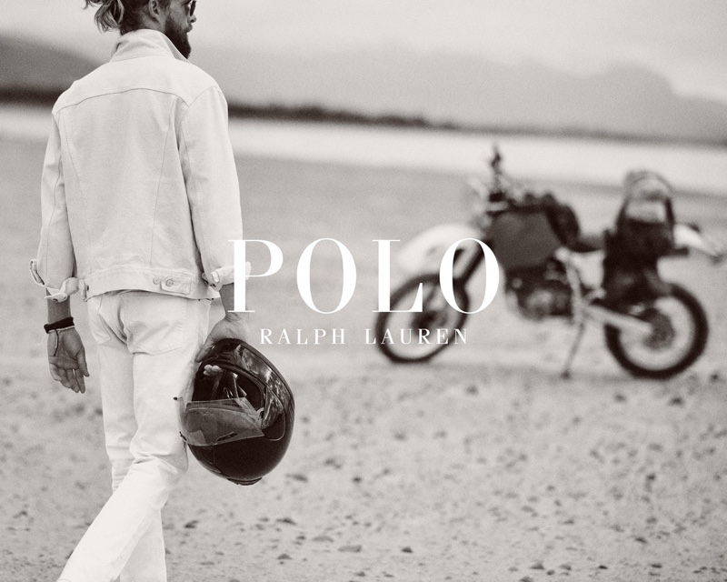 Chris Fisher rocks a white denim look for POLO Ralph Lauren's Wild Coast collection campaign.
