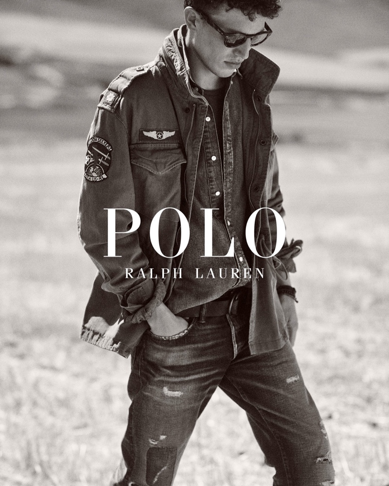 Appearing in a black and white image, Victor Sion stars in POLO Ralph Lauren's Wild Coast collection campaign.