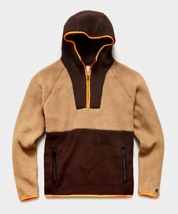 Polartec Half Zip Hoodie in Dark Hickory