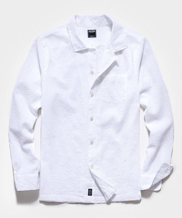 Portuguese Seersucker Camp Collar Long Sleeve Shirt in Canvas