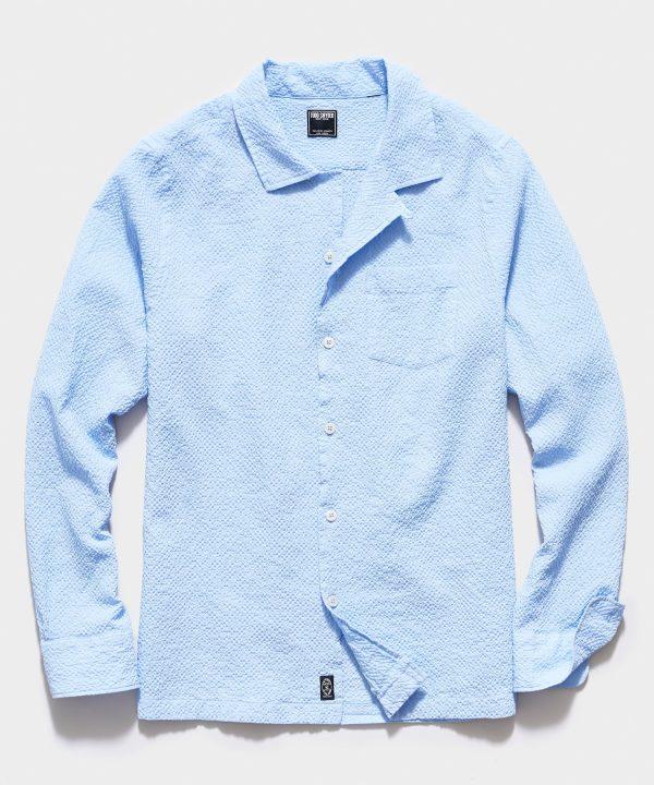 Portuguese Seersucker Camp Collar Long Sleeve Shirt in Light Blue