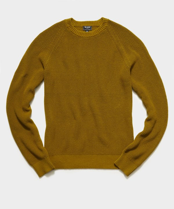 Recycled Cotton Crewneck Sweater in Brass