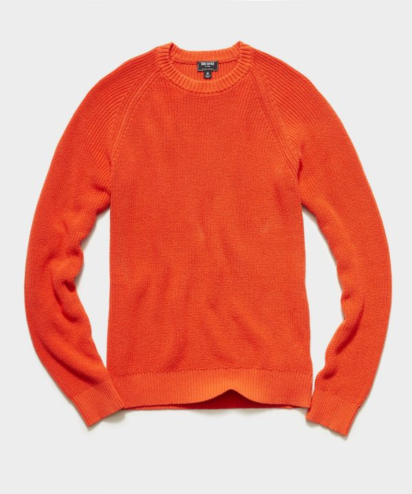 Recycled Cotton Crewneck Sweater in Orange