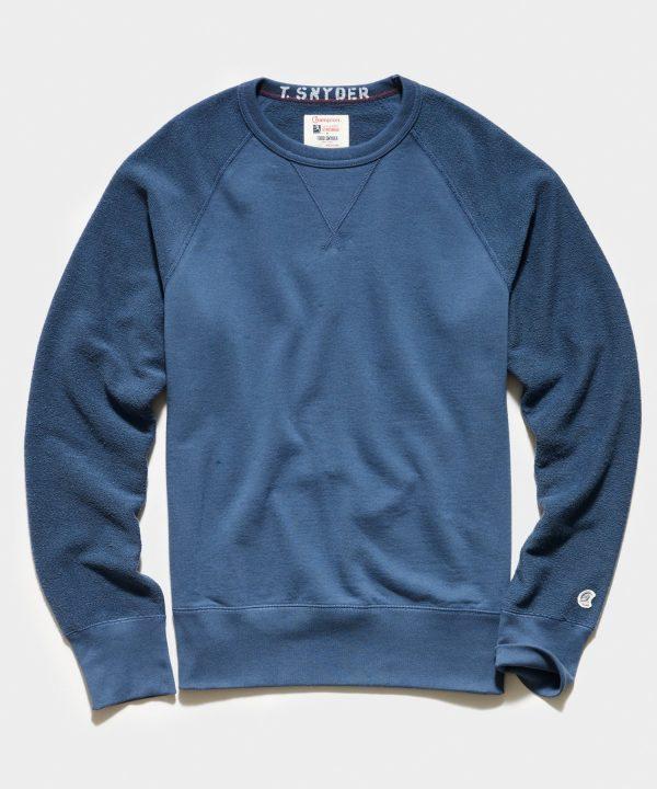 Reverse French Terry Sweatshirt in Navy Batik