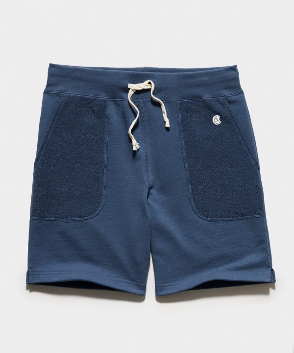 Reverse French Terry Warm Up Short in Navy Batik